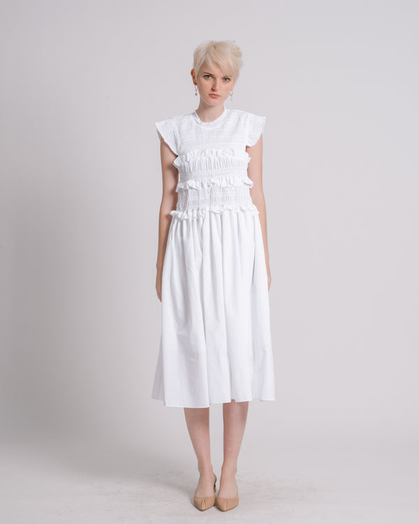 White Smocked Midi Dress