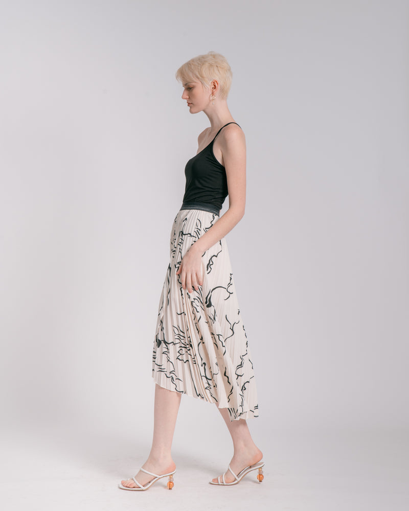 Graphic Print Accordian Skirt