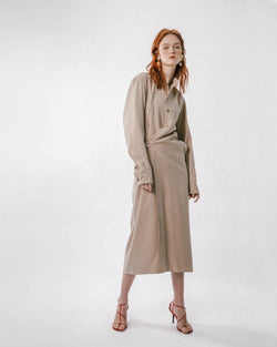 Tan Mandarin Collar Wrap Dress
