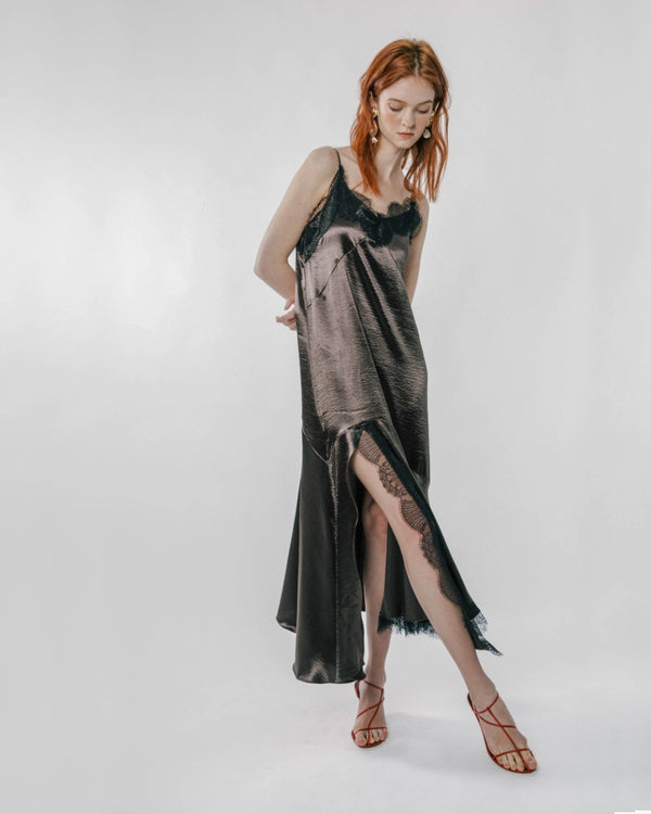 Dark Bronze Lace Slip Dress