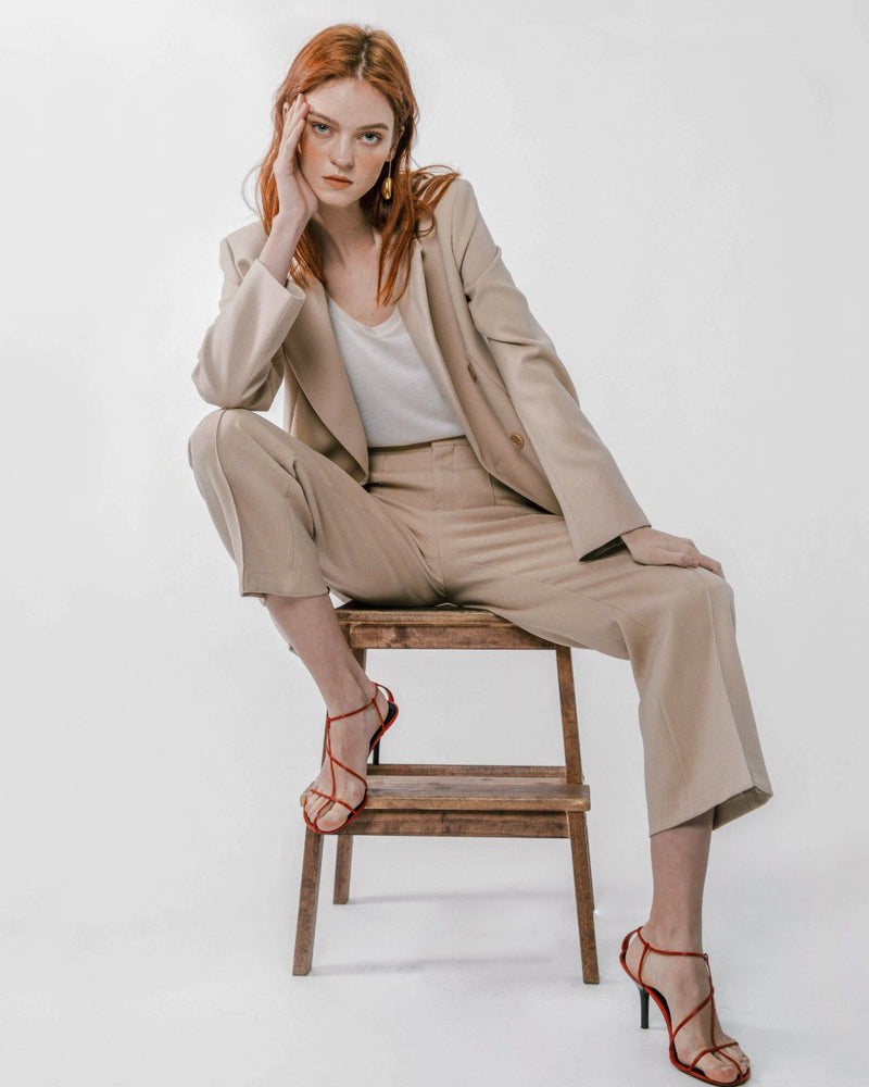 Beige Suit Pants