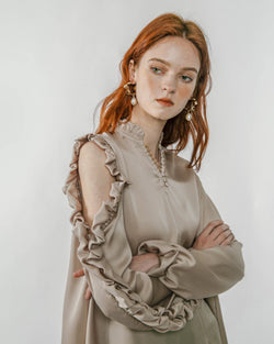 Khaki Ruffled Sleeve Top
