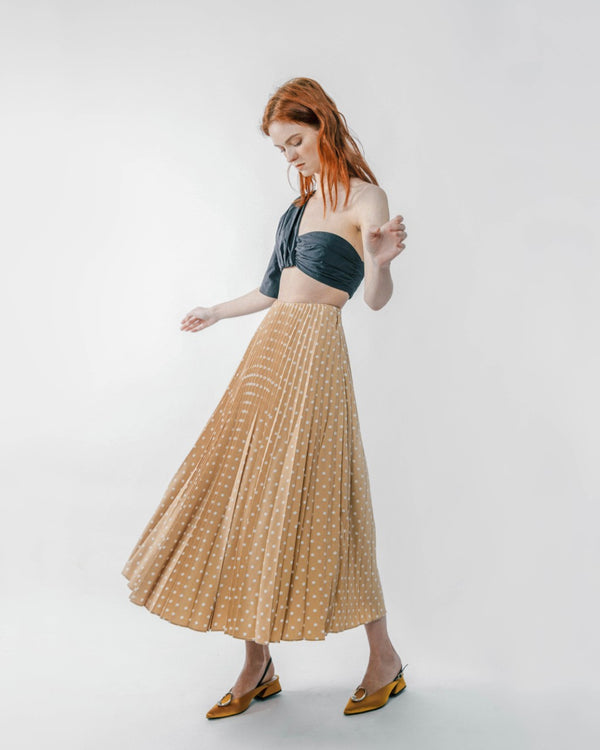Beige Polka Dot Pleated Skirt