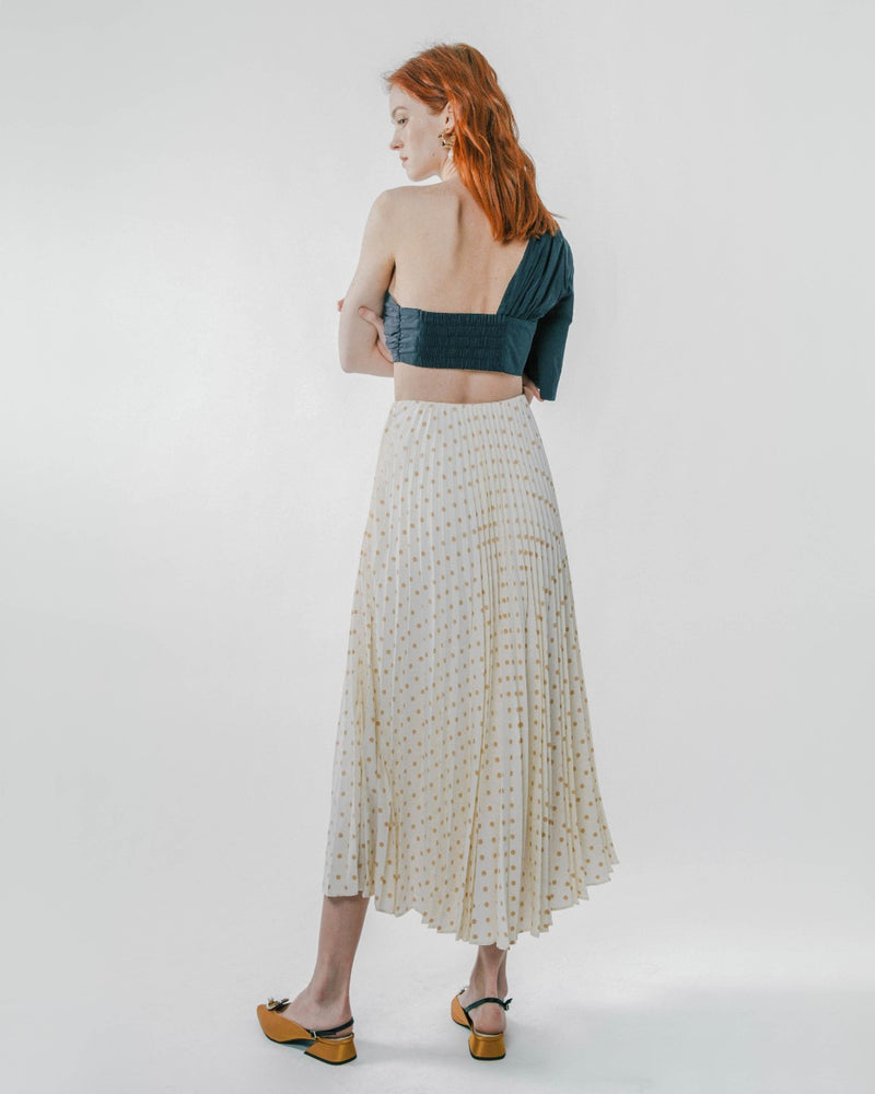 White Polka Dot Pleated Skirt
