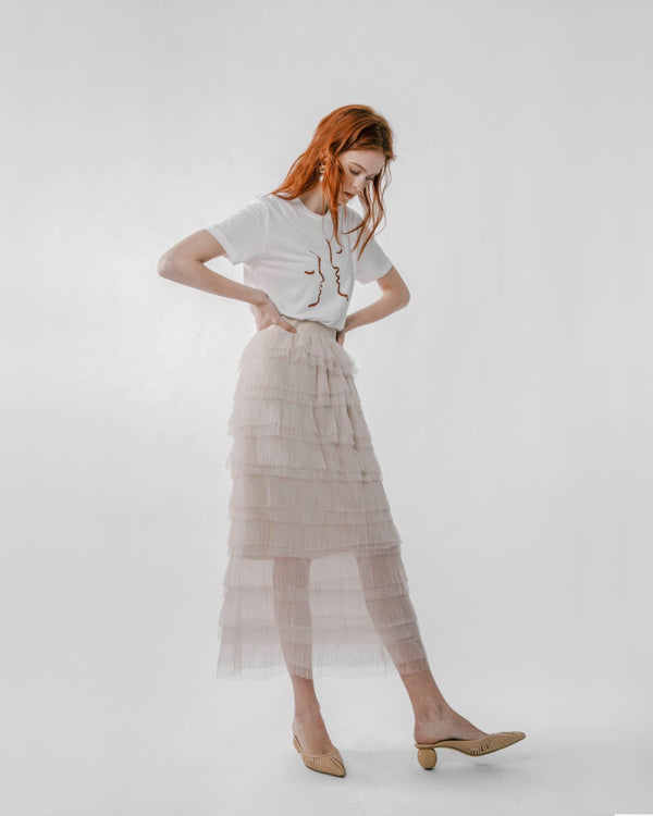 Nude Tiered Tulle Skirt