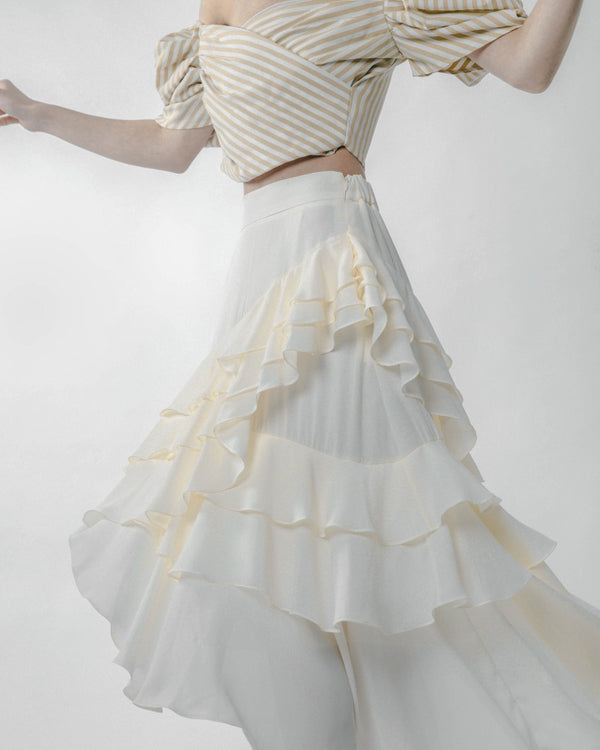 Cream Asymmetric Ruffled Skirt