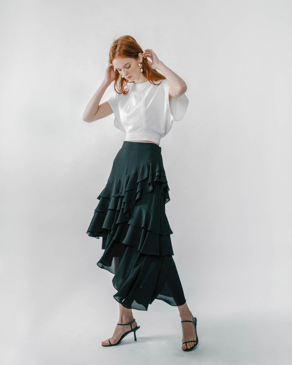 Black Asymmetric Ruffled Skirt