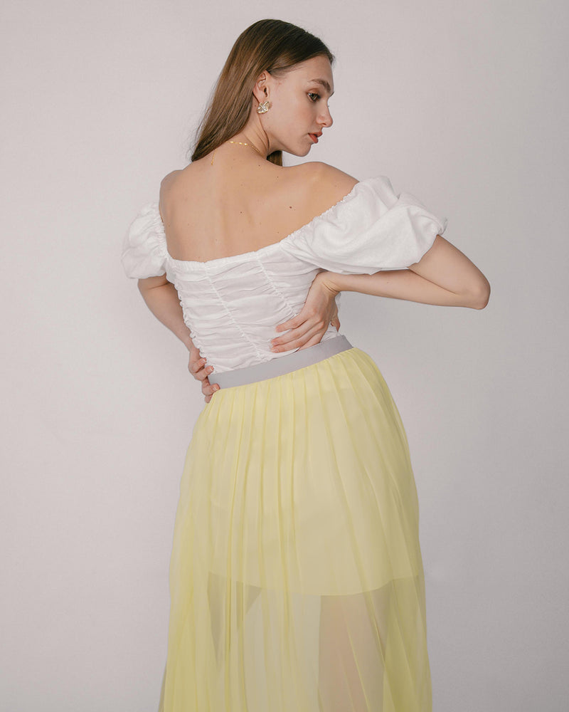 Breezy Yellow Chiffon Skirt