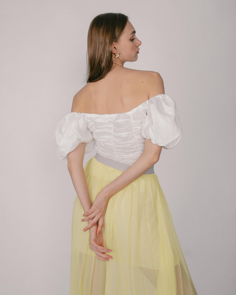 White Off-Shoulder Ruched Top