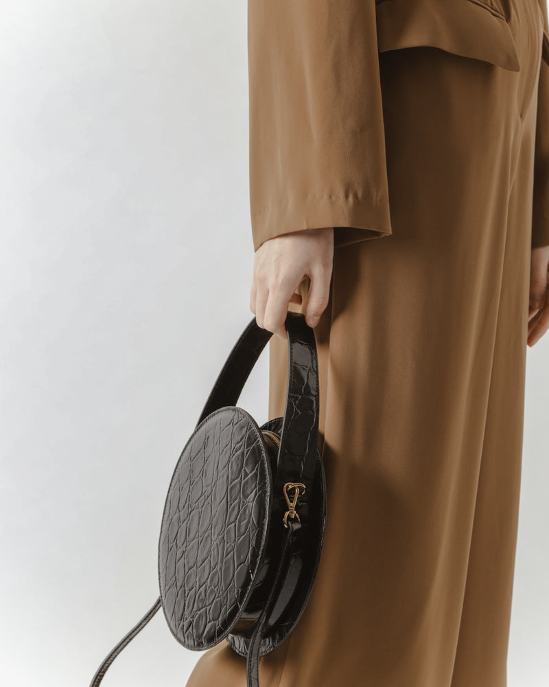 Black Embossed Croc Circle Bag