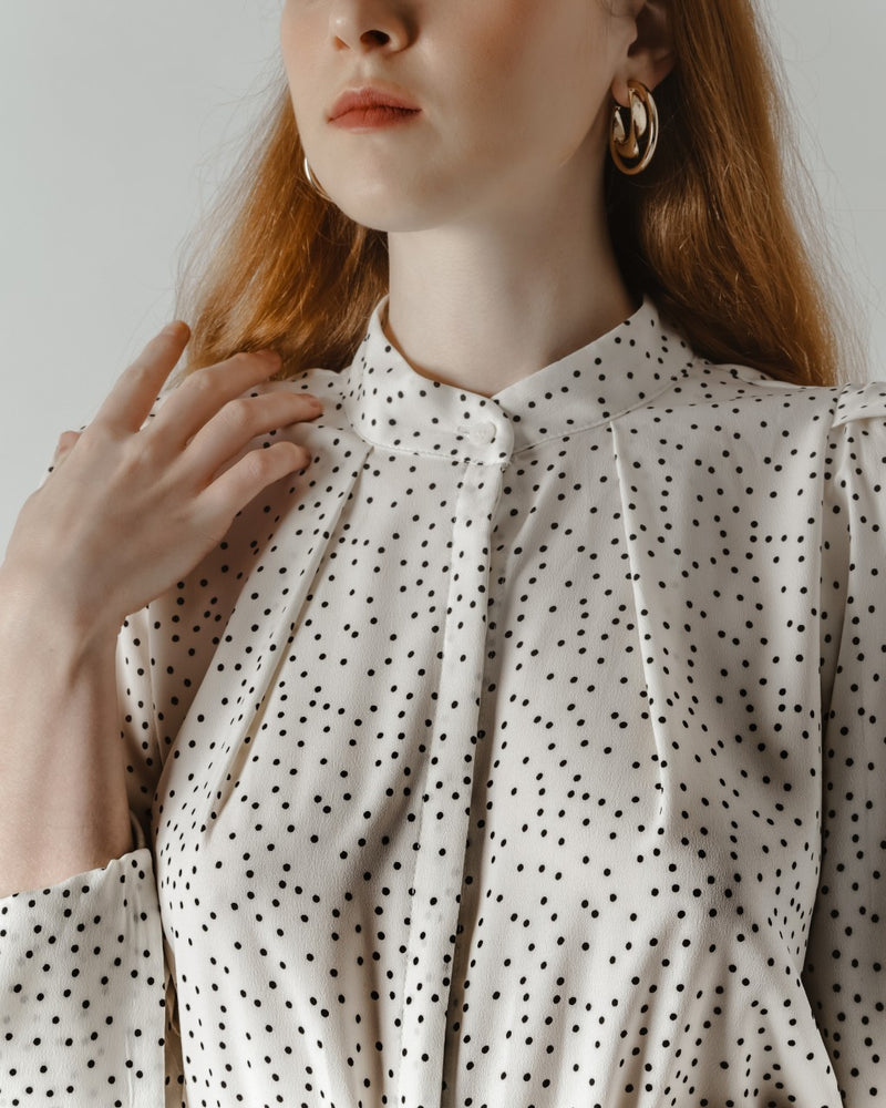 White Polka Dot Midi Dress