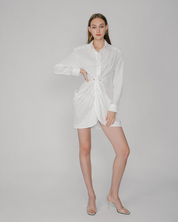 White Seersucker Draped Shirt Dress