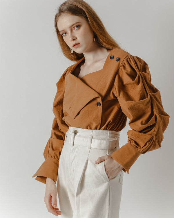 Rust Ruffled Sleeve Shirt