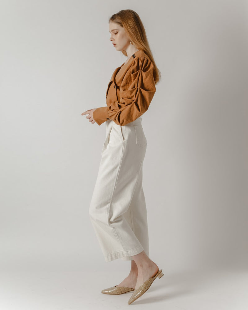 Belted High-Waisted Cream Denim Pants