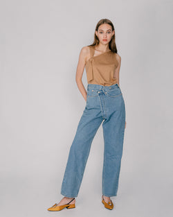 Blue Asymmetric Denim Jeans
