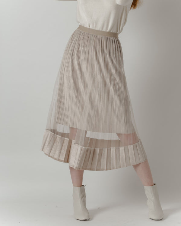 Pleated Cream Tulle Midi Skirt