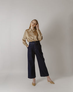 Belted High-Waisted Dark Blue Denim Pants