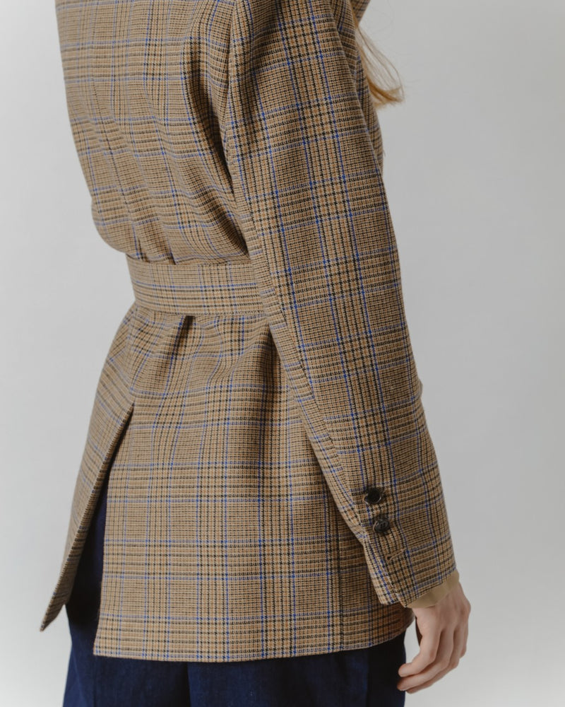Oversized Brown Checked Blazer