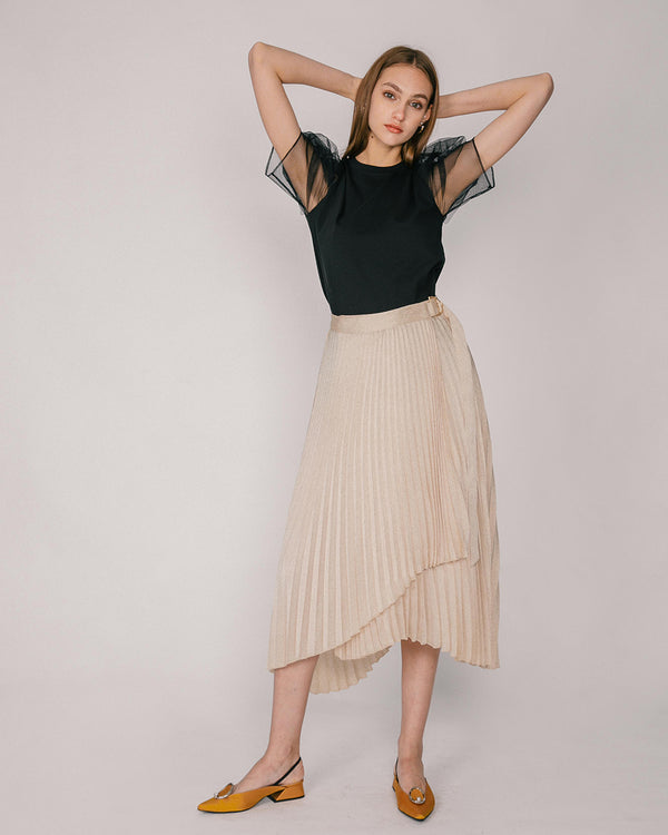 Champagne Pleated Wrap Skirt
