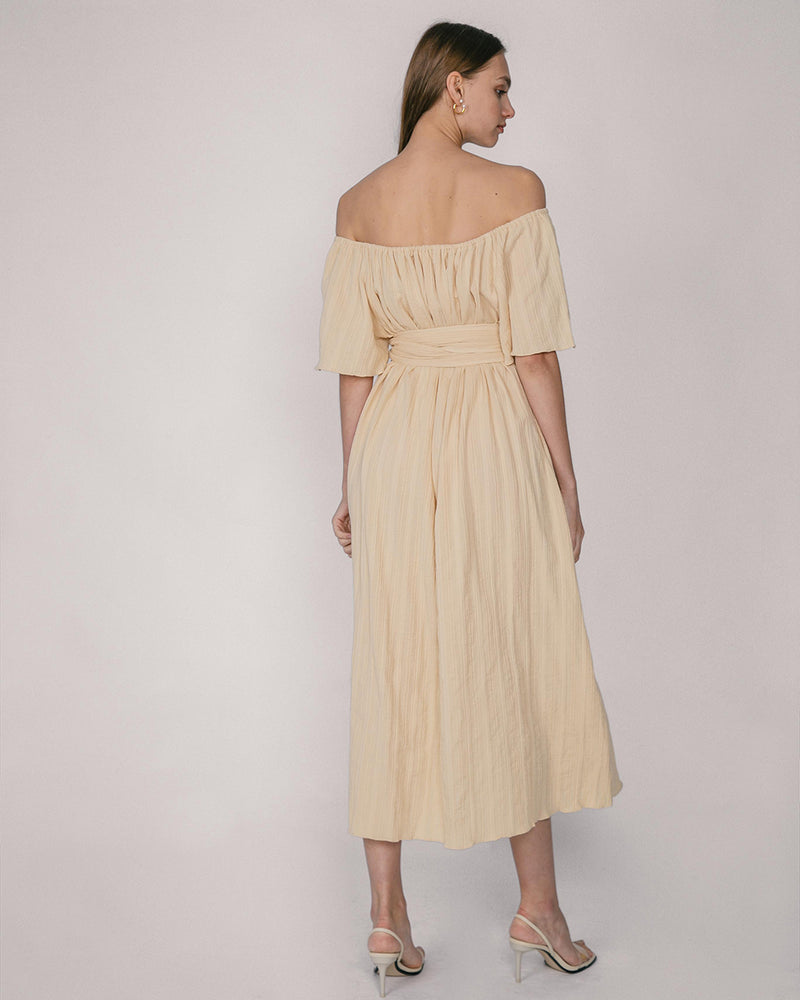 Maize Seersucker Off-Shoulder Maxi Dress