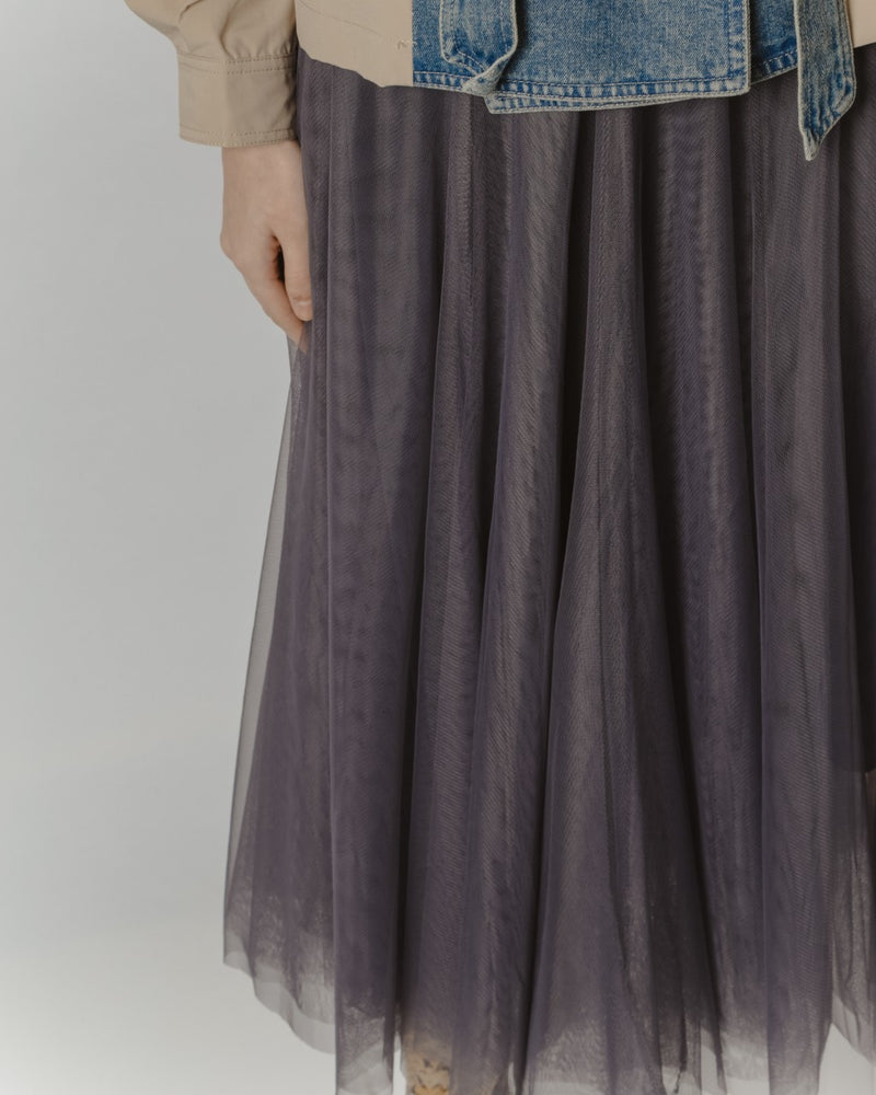 Midnight Grey Tulle Midi Skirt