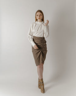 Brown Checked Pencil Skirt