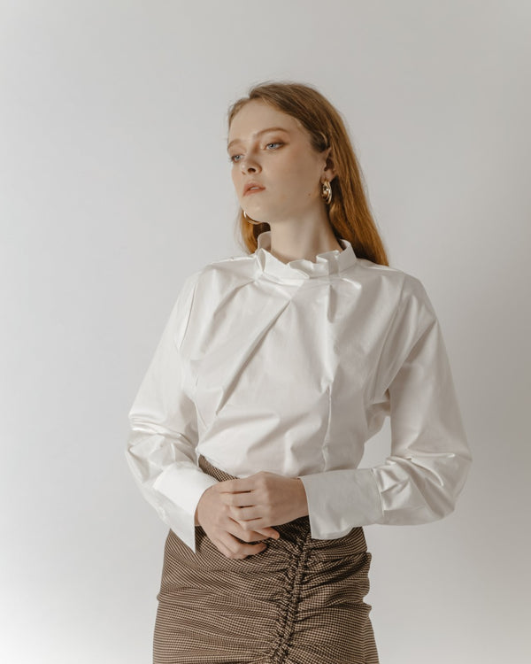 White High-Collared Shirt