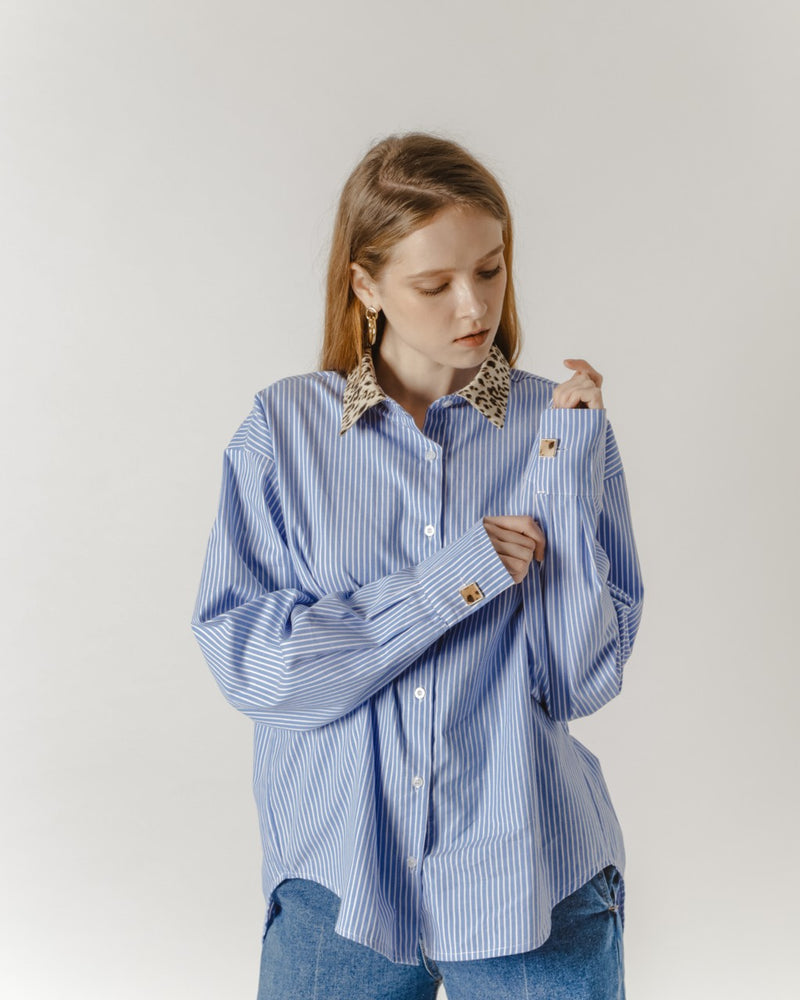 Blue Striped Shirt With Leopard Print Collar