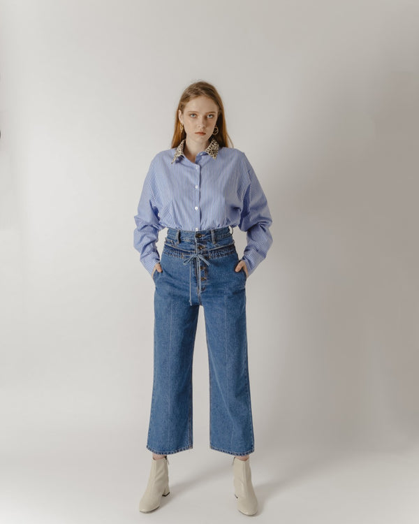 Dual-Waisted Blue Denim Jeans