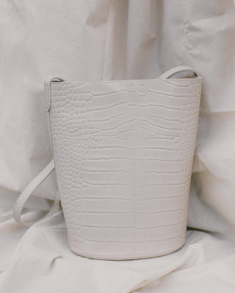 Ivory Textured Leather Bag
