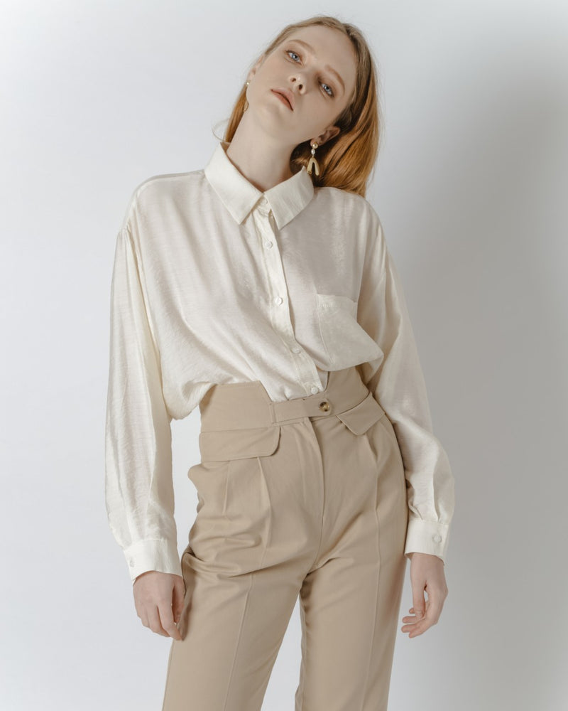 Tan Button Waist Pants