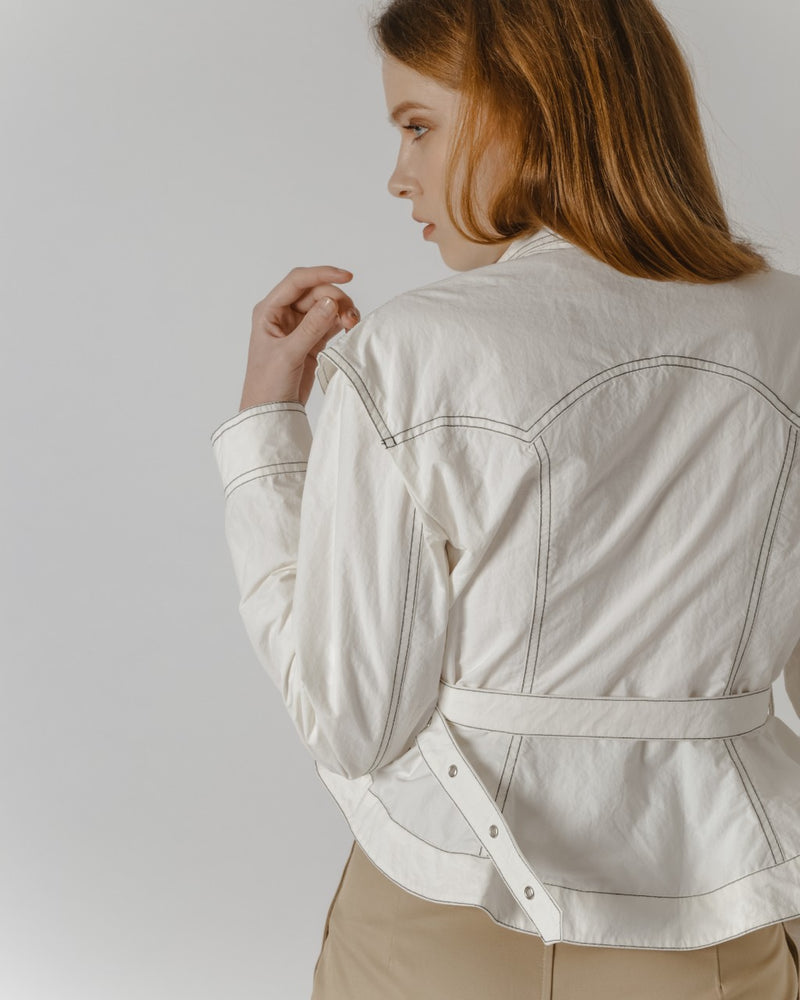 White Peplum Jacket With Top Stitching