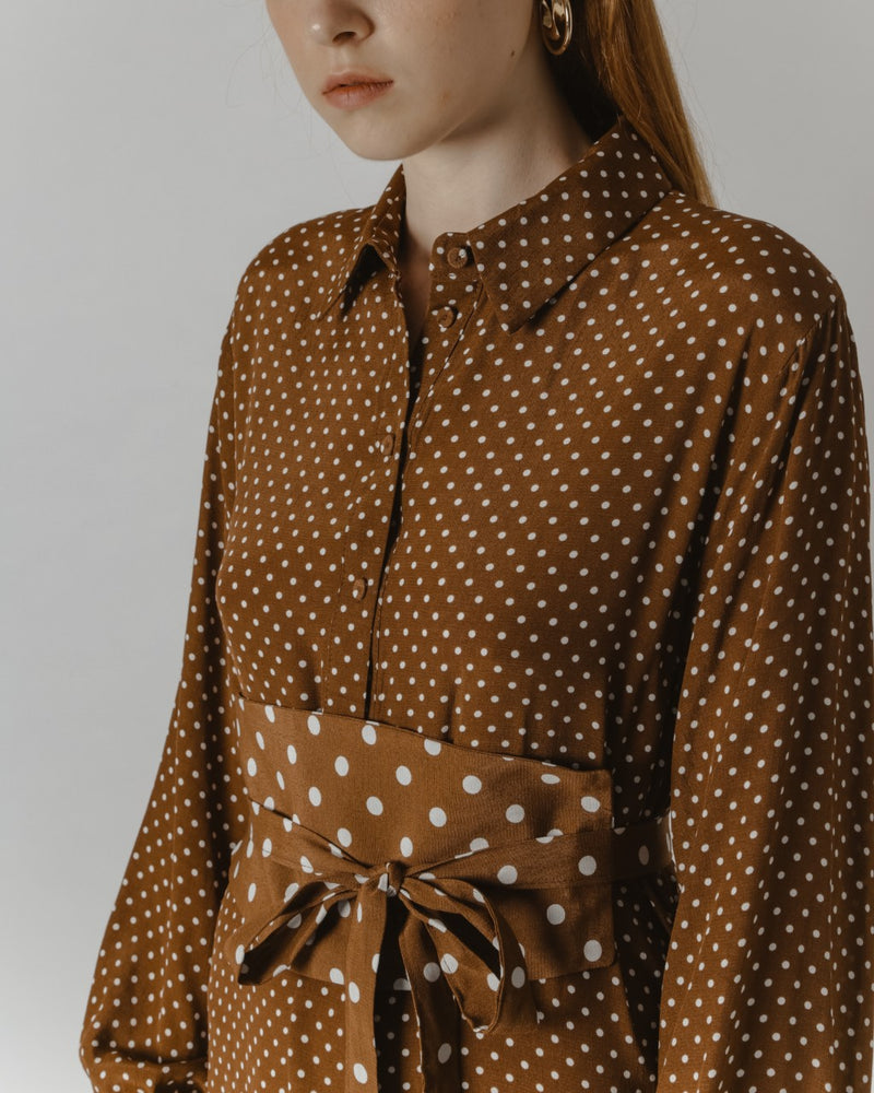 Belted Brown Polka-Dot Midi Dress
