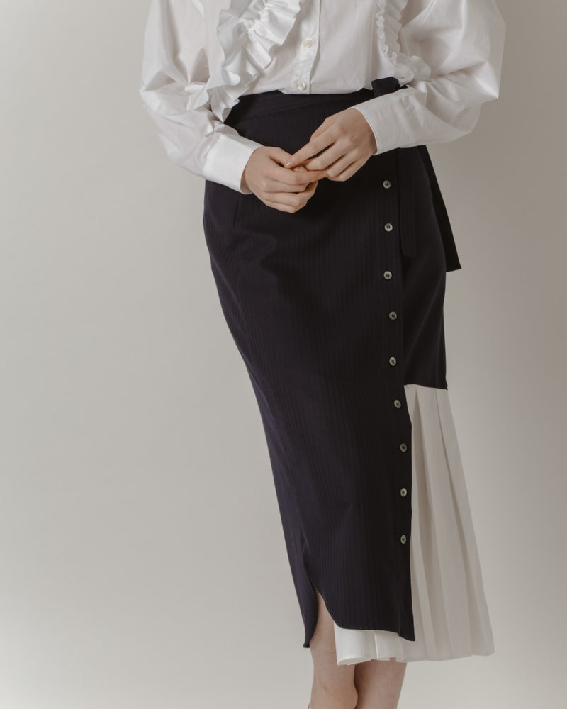 Navy Pinstripe Wrap Skirt With Pleats