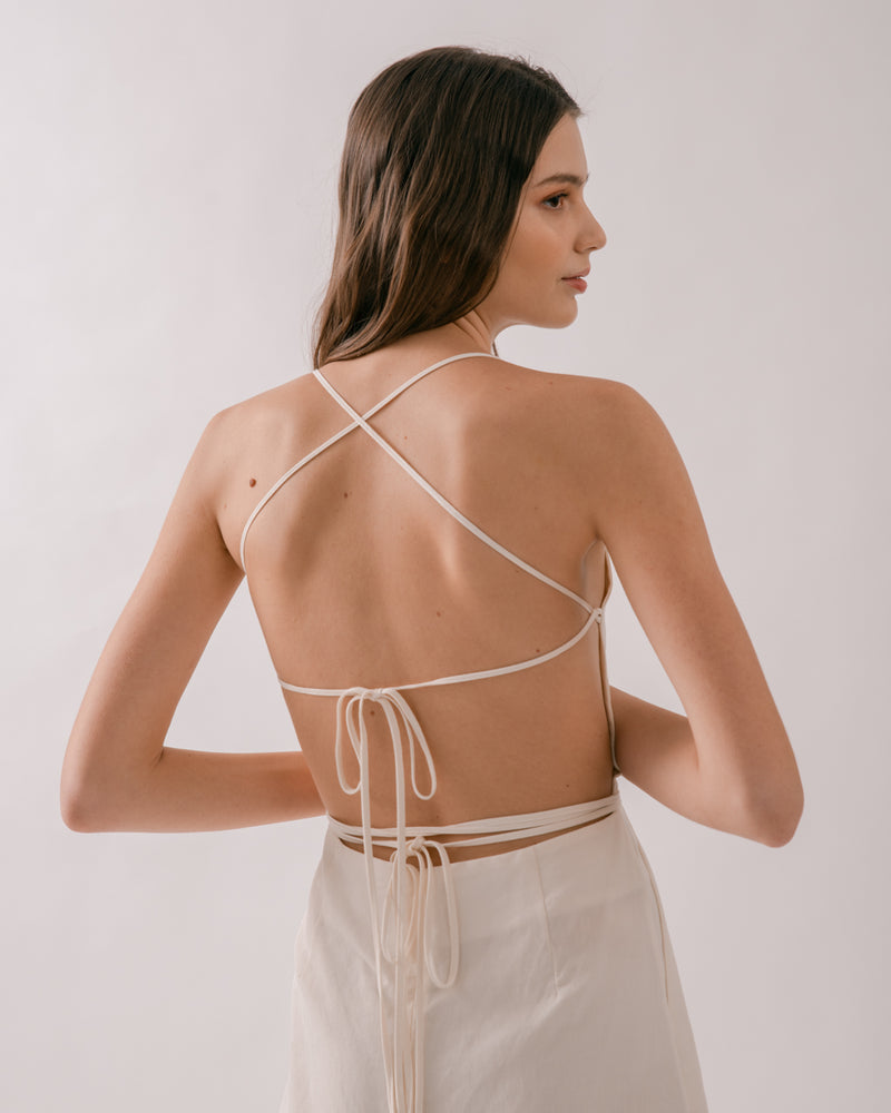 Ivory Tie-Back Apron Dress