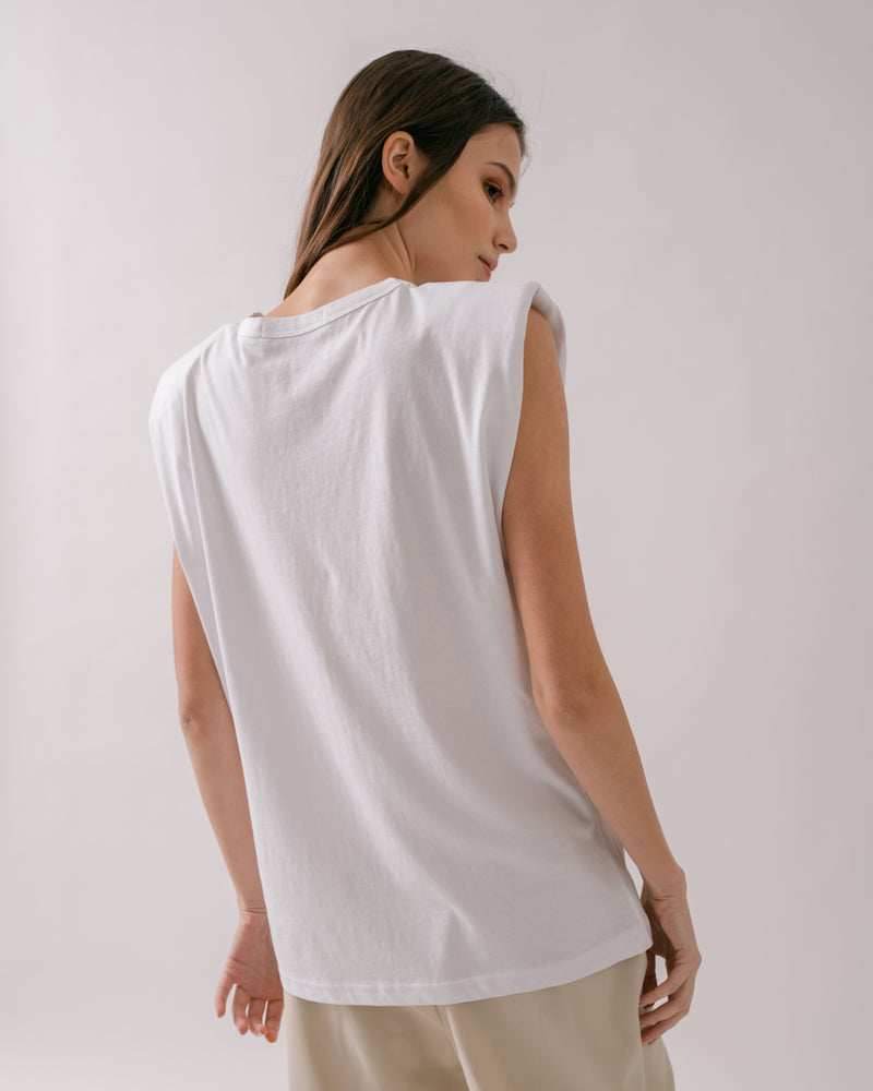 White Padded Shoulder Muscle Tee