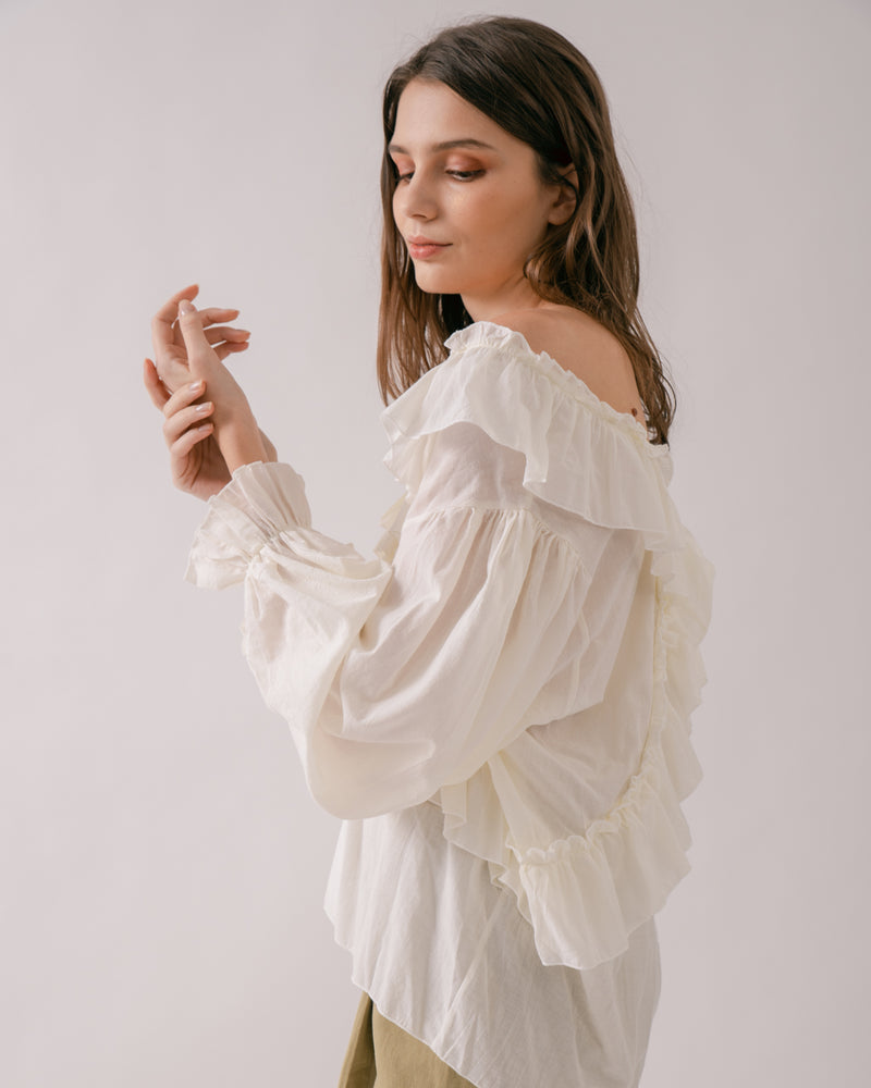 Cotton Off-Shoulder Ruffled Top