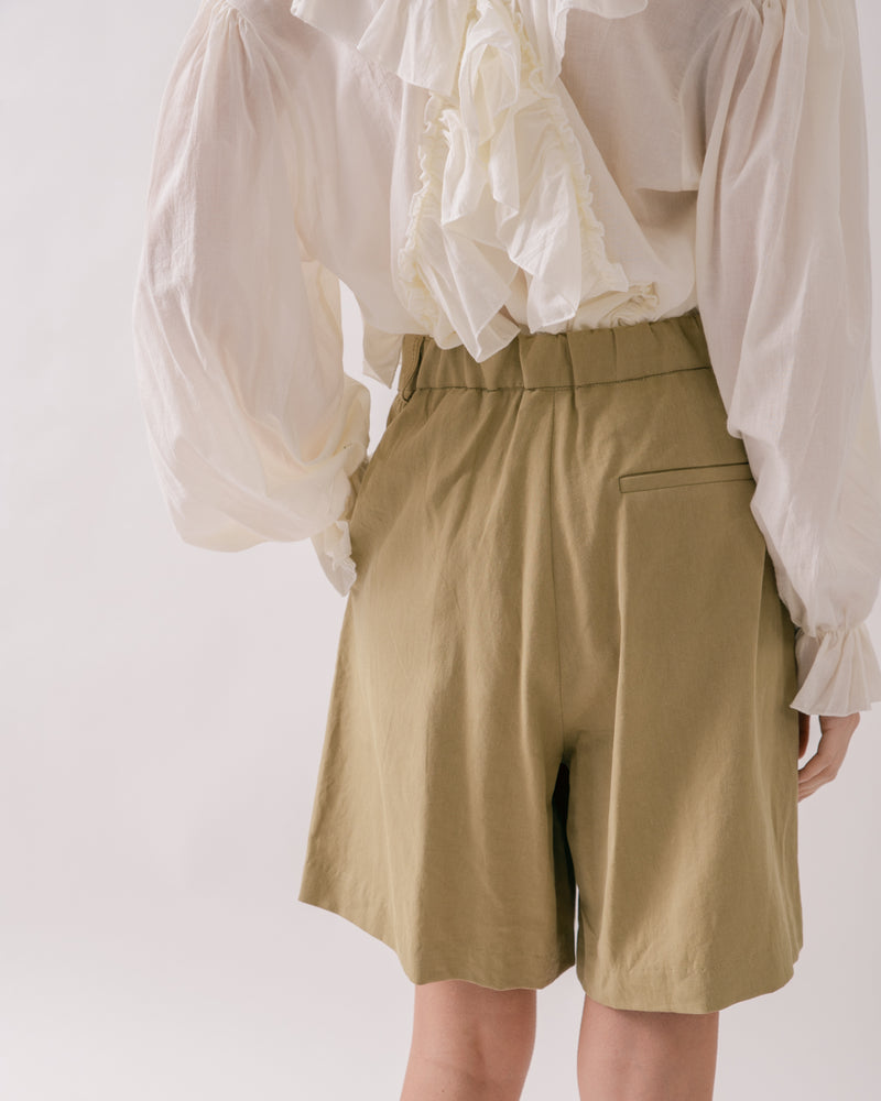 Khaki Tailored Shorts