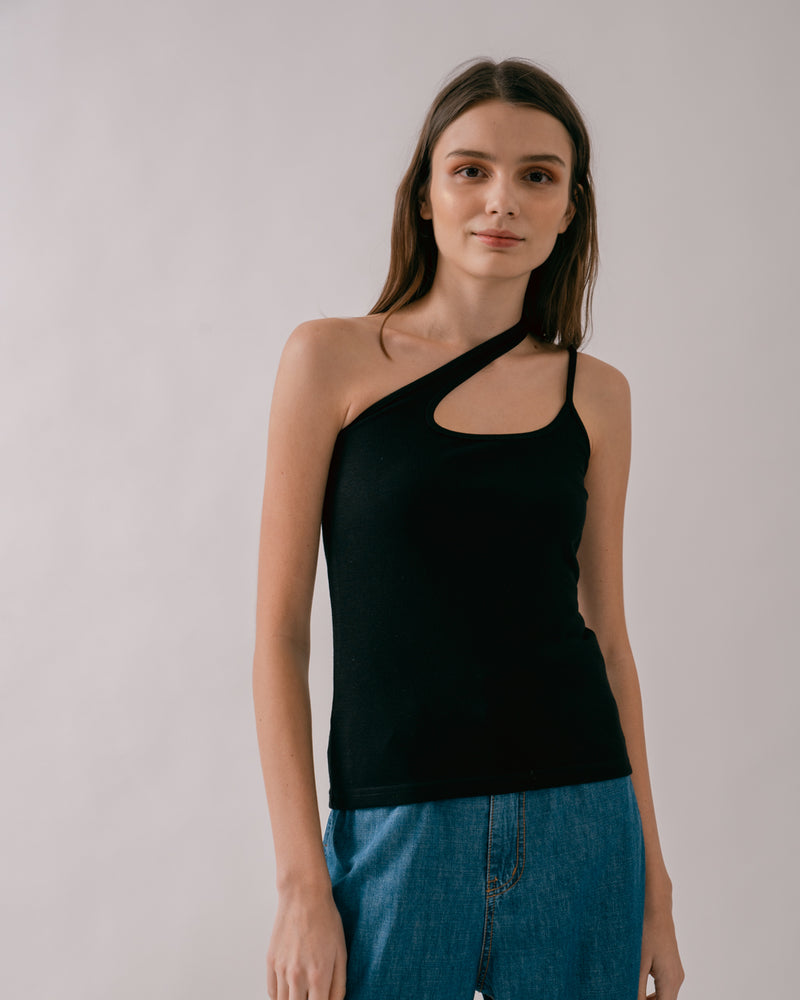 Black Asymmetric Tank Top