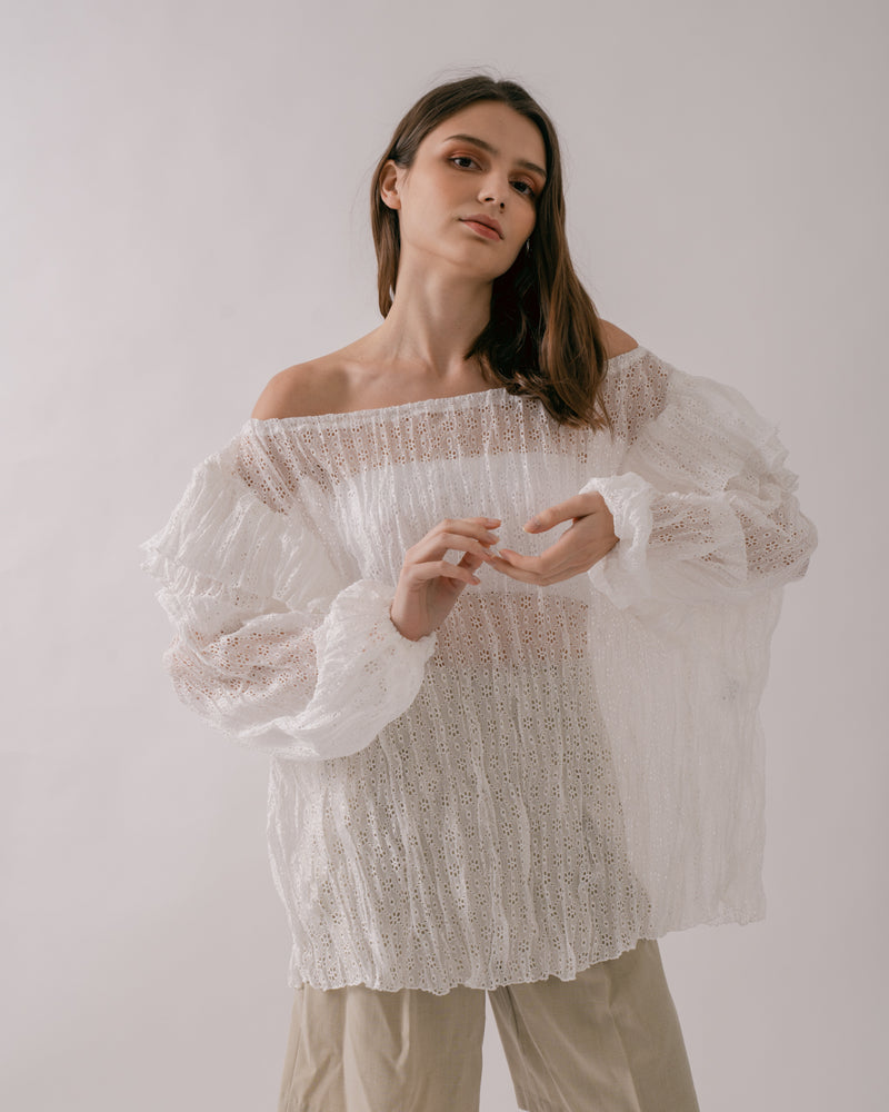 White Off-Shoulder Lace Top