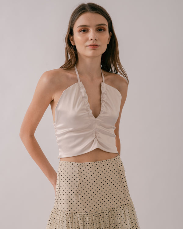 Satin Cropped Halter Top