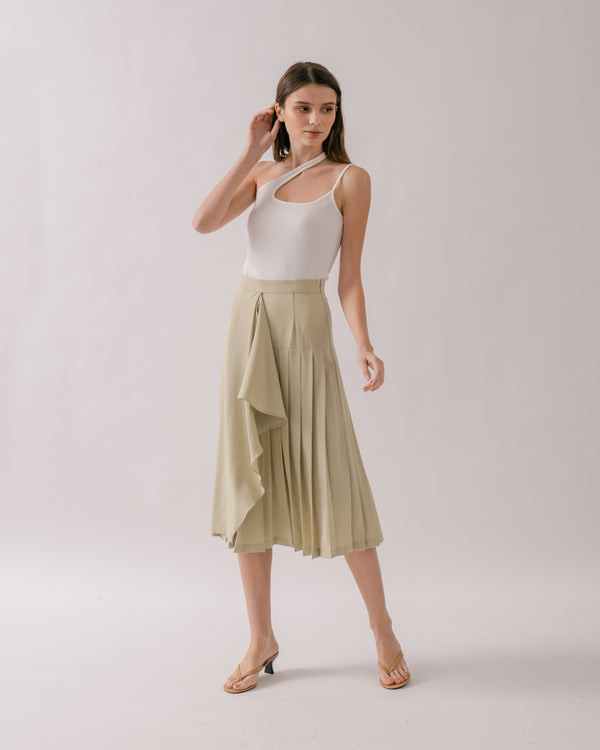 Sage Green Pleated Skirt