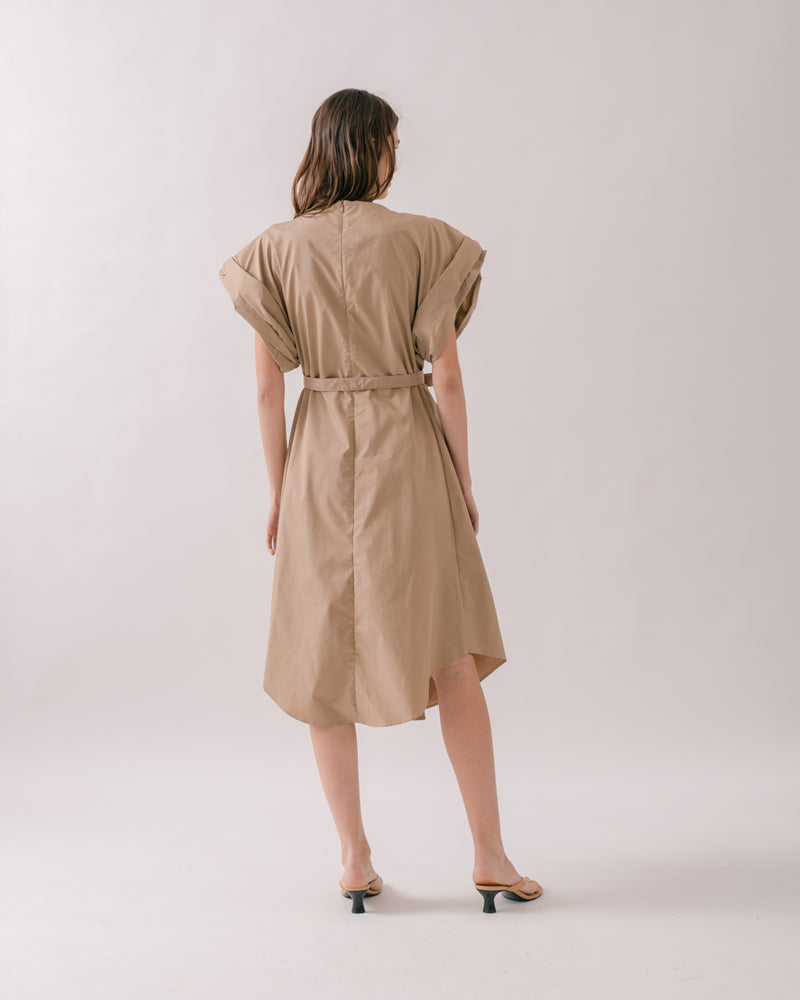 Khaki Crepe Midi Dress