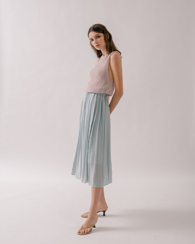 Sea Foam Pleated Chiffon Skirt