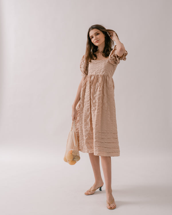 Beige Tie-Back Crinkled Dress