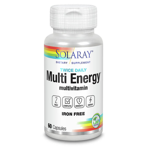 Solaray Twice Daily Multi Energy Multivitamin, Iron-Free (60 capsules)