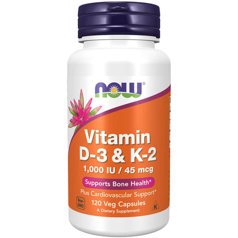 NOW Vitamin D-3 & K-2 (120 veg caps)