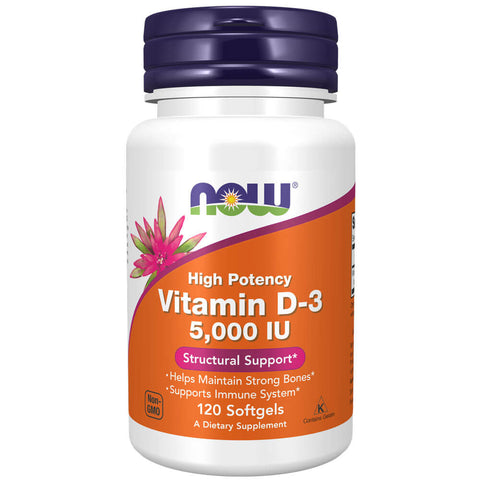 NOW Vitamin D-3 5000 IU (120 softgels)