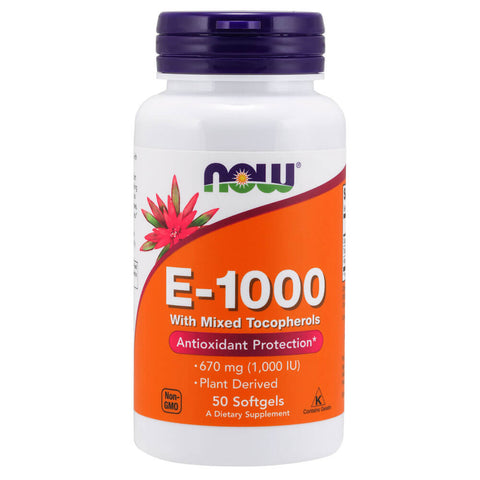 NOW E-1000 with Mixed Tocopherols (50 softgels)