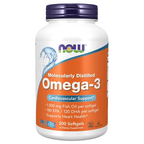 NOW Omega-3, Molecularly Distilled (200 softgels)